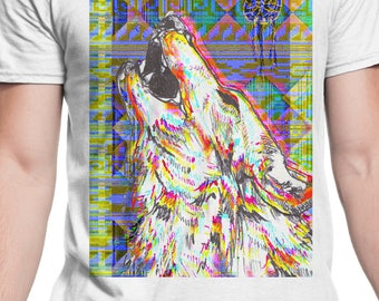 3D howling wolf and dream catcher