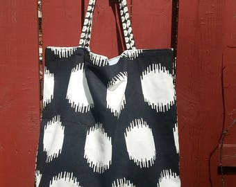 Black and White Large Tote, large square bag, lined. Canvas shoulder bag.