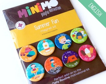 Summer Fun magnet kit - Magnets - Magnetic Board - Routine - Summer - Sunscreen - Camping - Bike - Kids - Child - Minimo