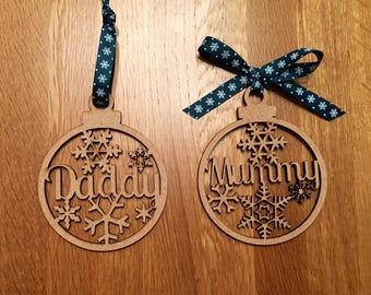 3 wooden personalised decorations