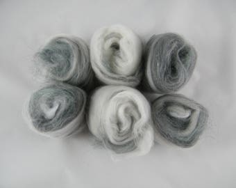 White, Grey & Green Art Batt - Handmade in Canada - Superwash Merino and Cashmere - Drum Carder Produced - Great for Spinning