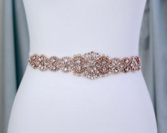 Rose Gold Bridal Belt, Bridal Sash, Wedding Belt, Wedding Sash Rhinestone and Pearl Sash