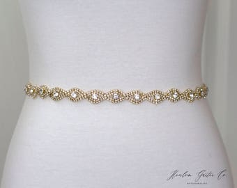 Gold Rhinestone Belt, Crystal Bridal Belt, Bridal Sash, Wedding Belt, Wedding Sash Rhinestone Sash