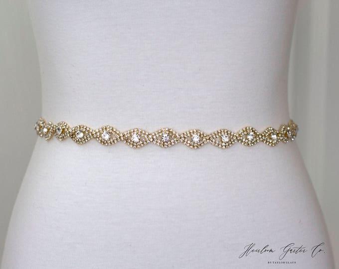 Gold Rhinestone Belt, Crystal Bridal Belt, Bridal Sash, Wedding Belt, Wedding Sash Rhinestone Sash