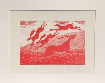 Linocut of Leaping Stag and Hares