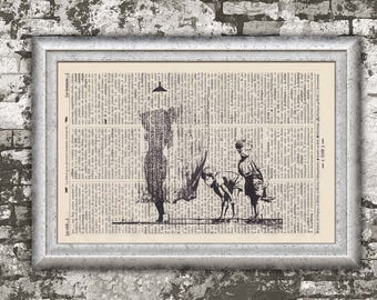 CURIOUS guys on antique book page - landscape print BANKSY