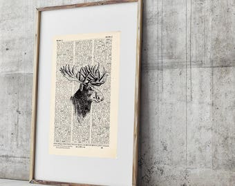 Pressure - deer No.. 2 - antique book page