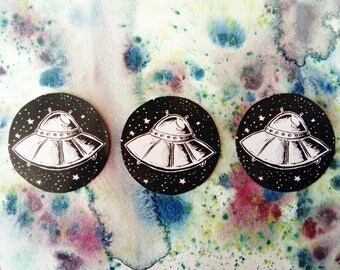 "UFO in Space 2"" handmade sticker"