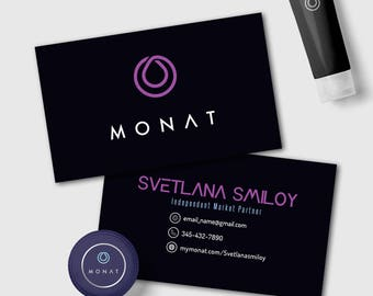 Monat Business Cards, Free Fast Personalized, For Market Partner, 3.5x2 inches, For Vistaprint or Home Printing