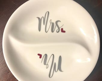 Ring dish, engagement gift, engagement gift for couple, couples gift, hubby/wifey, engagement gifts, gift for bride, bridal shower gift