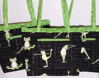 Zippered Large Purse - Yoga Frog print with Green interior