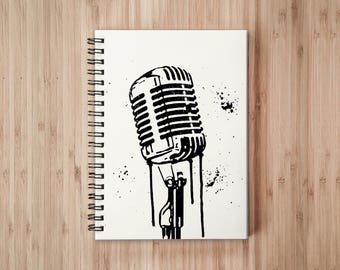 Vintage Microphone Notebook/Sketchbook Wire Bound - Blank pages