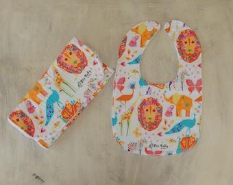 Baby girl bib and Burp Cloth Set- Modern burp cloth, Drool bib, Baby shower gift