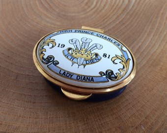 Vintage Staffordshire Enamel Pill Box - Wedding of Prince Charles, Lady Diana, 1981, Prince of Wales Feathers, Limited Edition 250