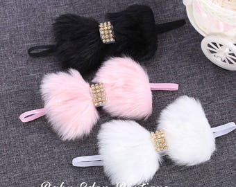 faux fur bow/ fur bow with rhinestone / winter fur bow