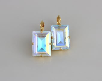 Crystal Bridal earrings, Swarovski Wedding earrings, Bridal jewelry, Gold earrings, Swarovski crystal earrings, Square cut earrings Emerald