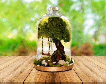 Fairy Garden, Terrarium, Fairy Tree, Fairy Garden Accessories, Miniature garden, Glass dome Terrarium, Terrarium Kit, Glass dome Cloche.