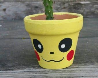 Pikachu character handpainted terra cotta pot flowerpot