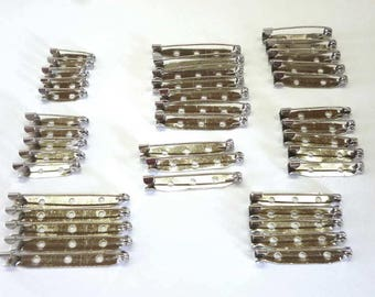 Mixed lot of Silver Coloured Brooch Pin Backs, 21mm to 45mm - Pack of Forty - H683
