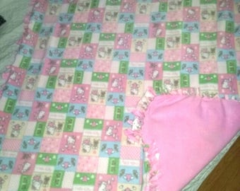 Double sided hand tied fleece blanket