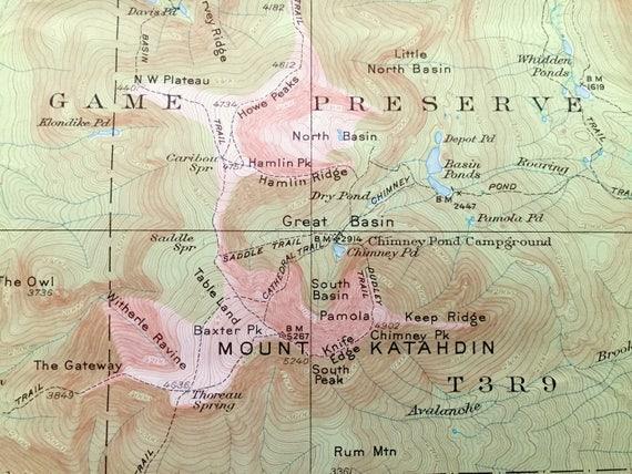 Antique Mount Katahdin Maine Baxter State Park 1930 Us Geological Survey Topographic Map Millinocket Lake Piscataquis Pescot
