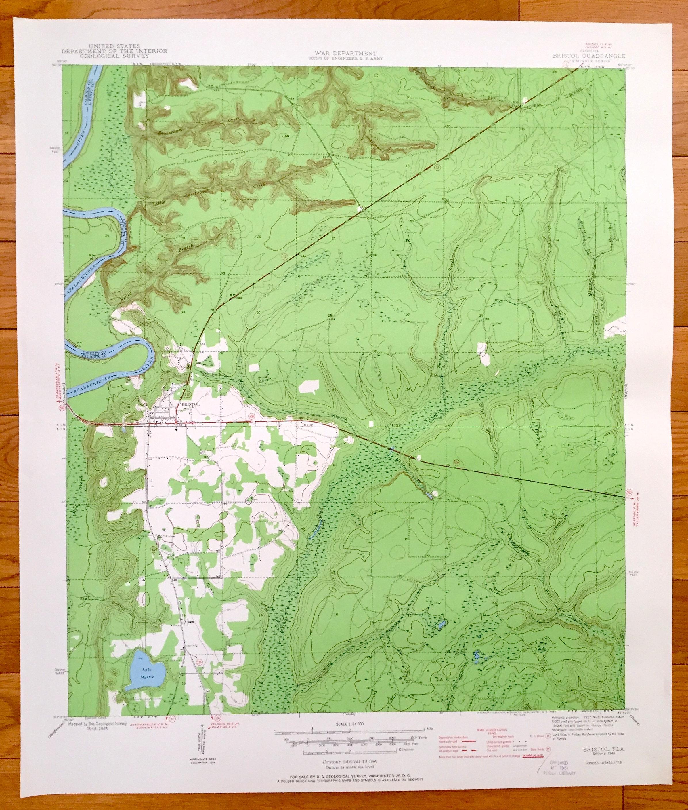 Antique Bristol Florida 1945 US Geological Survey Topographic