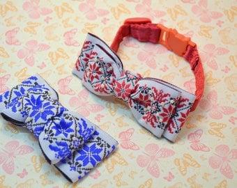 Cat bowtie Ukrainian style bowtoe with collar, cat collar breakaway, cat bow tie