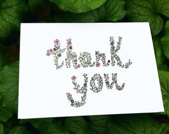 Floral ink thank you card