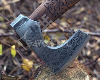 Hand Forged Viking Axe with etching on the head and Drakkar head on the handle with Leather Case, Viking Bearded Axe