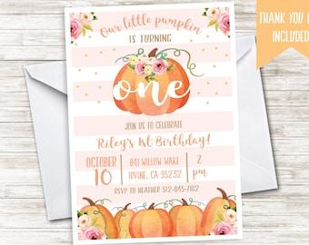 Pumpkin Birthday Invite Invitation First ANY AGE Digital 5x7 Pink Stripes Gold Glitter Fall Girl