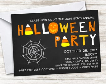 Halloween Party Invite Invitation Digital Chalkboard Harvest Fall Party Chalkboard 7x5