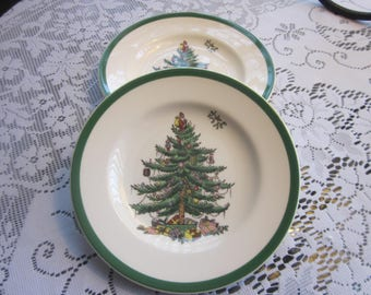 2 Vintage Spode Christmas Tree Bread and Butter Plates - Never Used