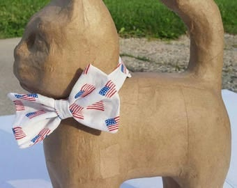 White Cat Bow Tie with American Flag Print, American Flag Bow Tie