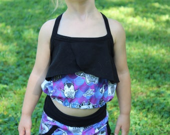 Baby Crop Top with Dragons / Crop Top / Summer Top for Kids / Kids Crop Top / Baby Crop Top / Toddler Crop Top Outfit / Kids Ruffle Crop Top