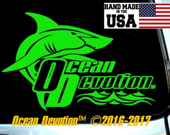 "Shark v4 ""Ocean Devotion"" Vinyl Decal/Sticker - Salt Life, Beach Life,Reel Life Surfing, Fishing, Paddle Boarding, Kite, Sea, Car, Boat"