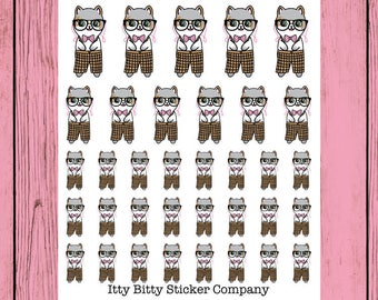 Nerdy Mauly - Hand Drawn IttyBitty Kitty Collection - Planner Stickers