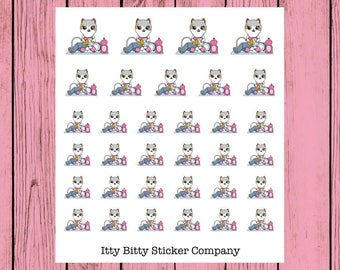 Mauly does the Dishes - Hand Drawn IttyBitty Kitty  Collection - Planner Stickers