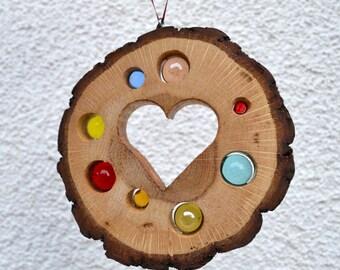 Sun catcher Heart 13 cm-Oak