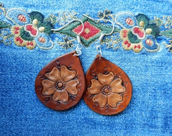 Wild Rose Leather Earrings