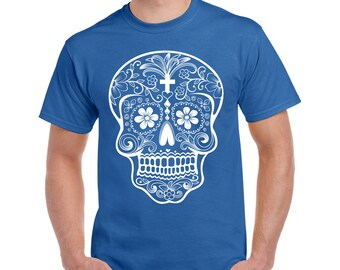 Sugar Skull T shirt, Sugar skull tee, Halloween shirt, Skull shirt, skeleton shirt, day of the dead, Dia de los muertos