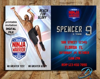 Ninja Warrior, Ninja Warrior Invitation, ninja birthday, ninja, ninja party, american ninja, ninja warrior party, birthday invitation