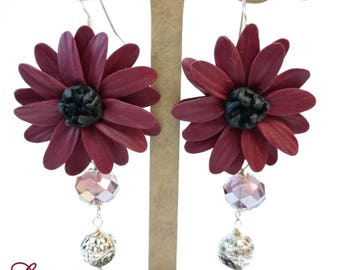 Burgundy Bordeaux Flower Earrings Beads Crystal Clay Jewelry Inspirational Valentine's  Gift for Women Wife Sister cousin BUY 2 GET 1 FREE