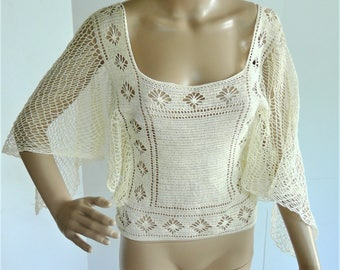Vintage 1960's Hand Crocheted Sheer Bohemian Hippie Top - Fine Quality!