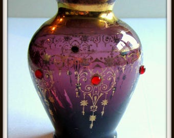 Antique Bohemian Amethyst glass vase, ca. 1890