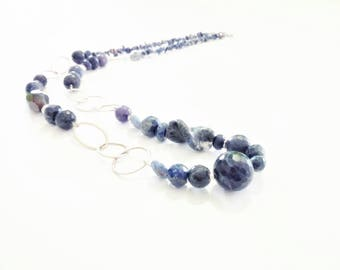 Necklace-genuine sodalite