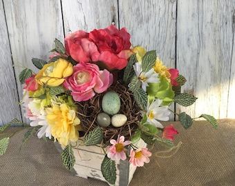 A Shabby Chic Spring Floral Arrangement, Summer Floral Arrangement with Bird Nest, Wedding Centerpiece, Mother's Day Gift, Easter Floral