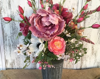 Pretty Pink Peonies Spring Floral Arrangement in a Galvanized Tin, Pink Summer Peonies Floral Arrangement, Mothers Day, Wedding Centerpiec