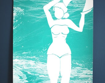 Screen printed bather 29.7 x 42 (A3) Limited Edition and numbered