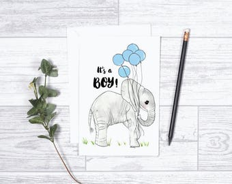 """Elephant It's a Boy! - Note Cards - 4""""x6"""" - Individual - Greeting Card - Gifts for baby - Baby Shower - Baby Announcement - Baby Boy - Blue"""