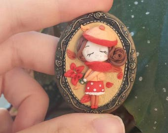 Fall autumn doll fimo polymer clay baby brooch pin